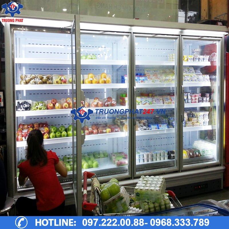 Lắp đặt tủ mát siêu thị cánh kính cao cấp kích thước theo yêu cầu
