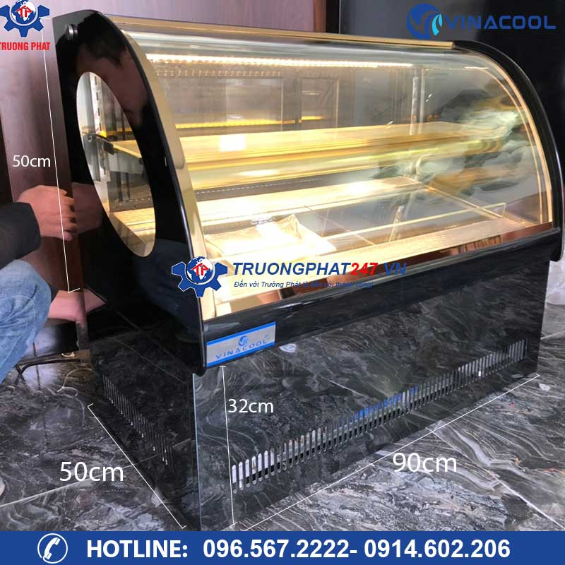 kích thước tủ trưng bày bánh kem để bàn TLS90