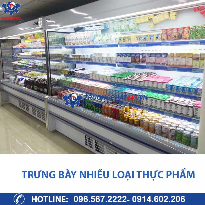 tủ mát 2,5m trưng bày nhiều loại thực phẩm
