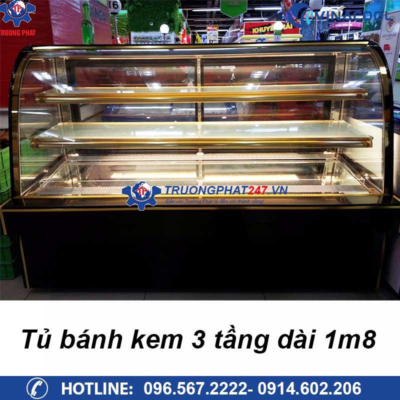tủ bánh kem 3 tầng dài 1m8