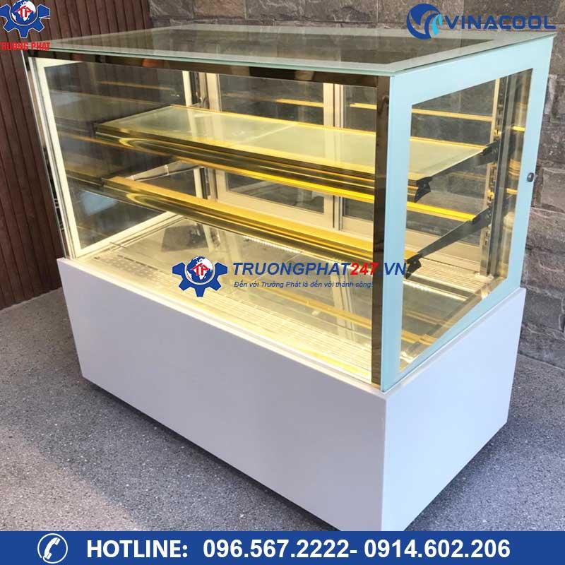 tủ bảo quản bánh kem 3 tầng kính vuông có bánh xe