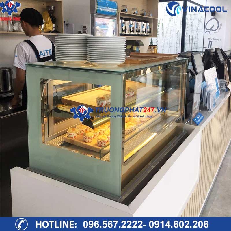 tủ bánh kem 2 tầng kính vuông để bàn Vinacool