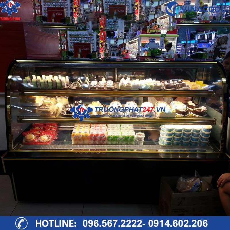 Tủ mát trưng bày bánh 3 tầng kính cong DH-1800 (1,8m)