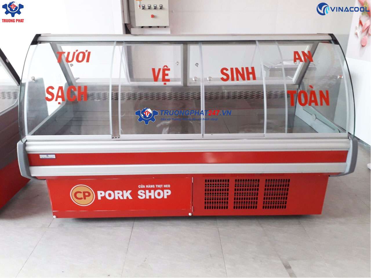Tủ mát đựng thịt lợn sạch CP Foods
