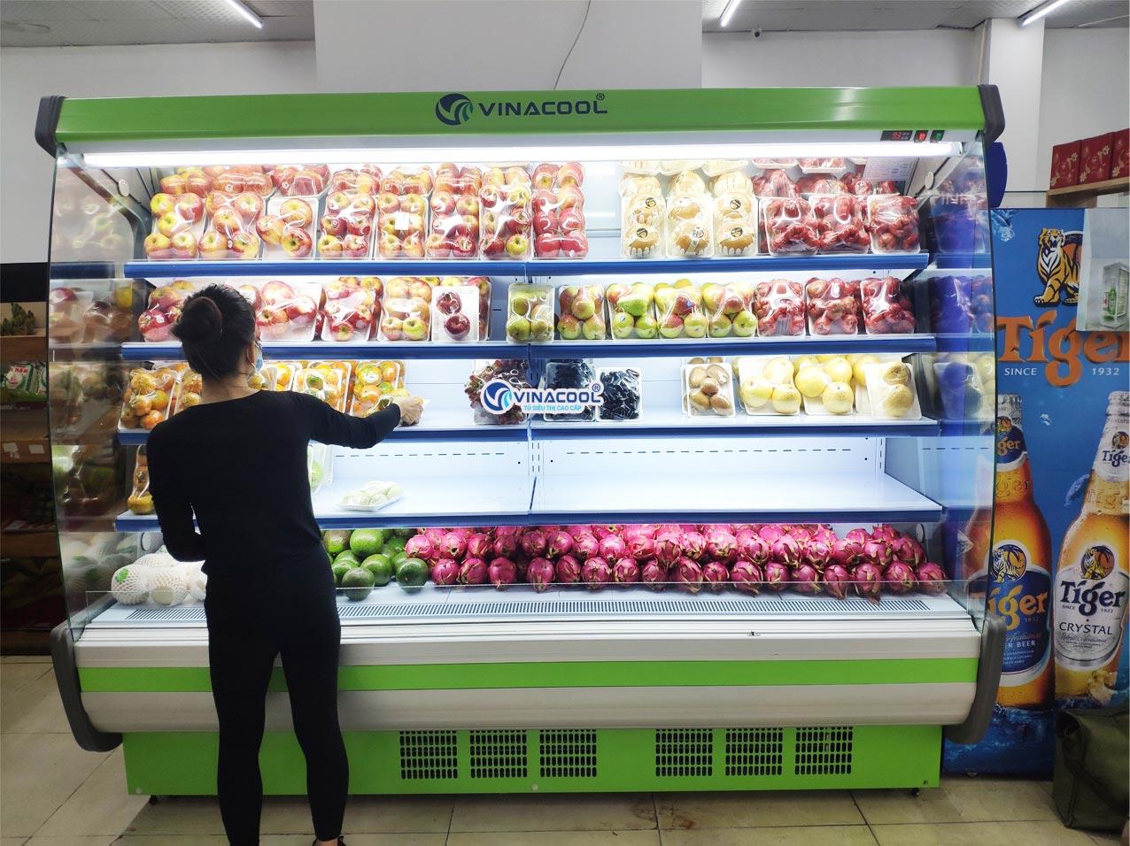 tủ mát siêu thị không cửa vòm cong xanh