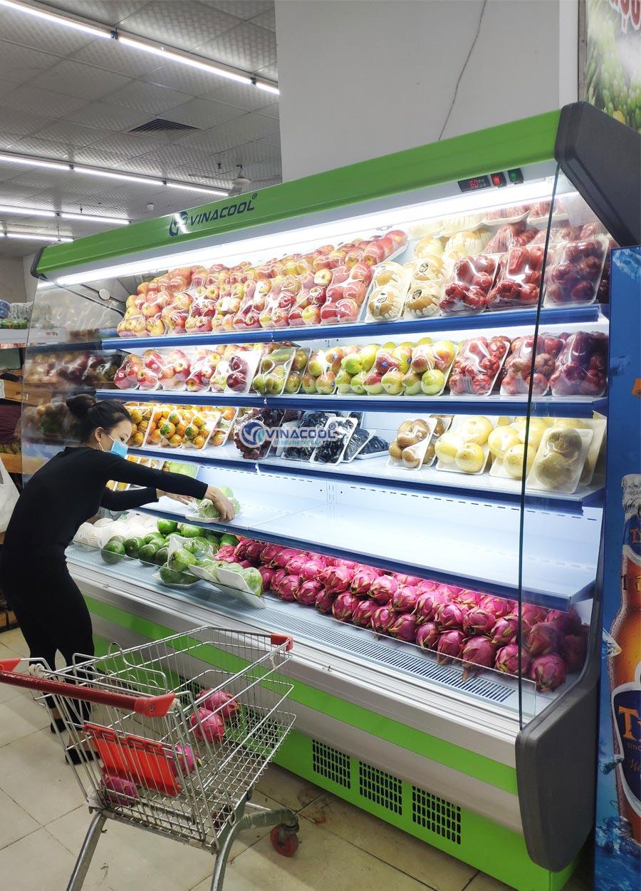 tủ mát trưng bày trái cây dài 2m5 cong xanh