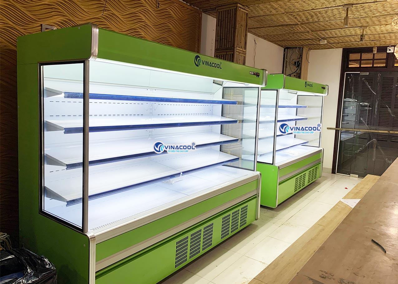 tủ mát siêu thị không cửa vuông dài 2m5