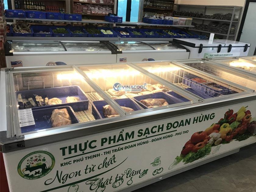 tủ đông trưng bày thịt siêu thị kính phẳng