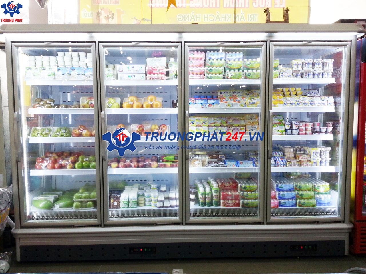 lắp tủ bảo quản thực phẩm siêu thị có cánh kính