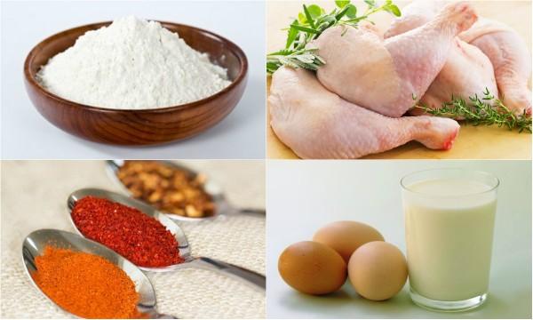 nguyên liệu làm món gà rán