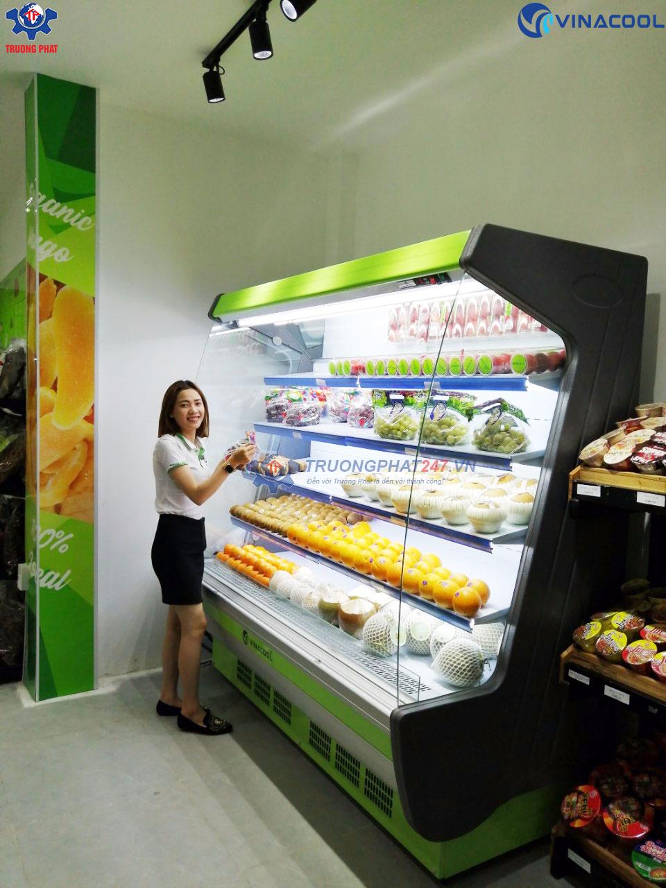 tủ mát trưng bày trái cây kính cong