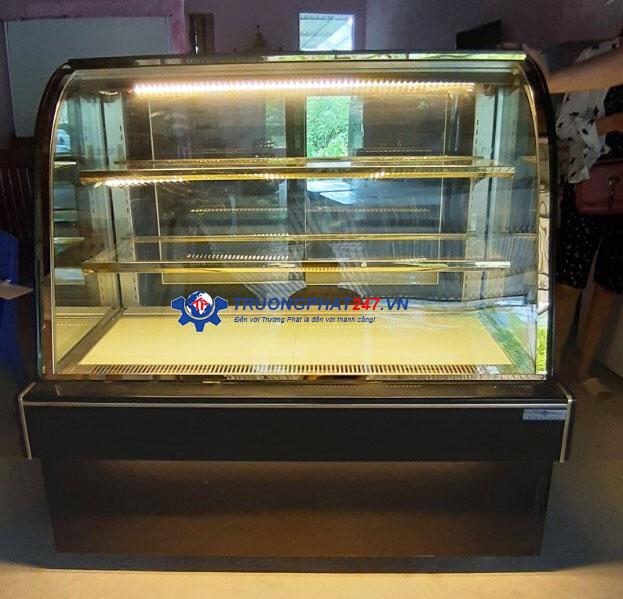 tủ bánh kem 1m2 màu đen kính cong