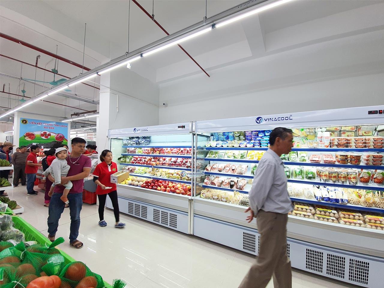 tủ mát trưng bày rau củ trái cây siêu thị