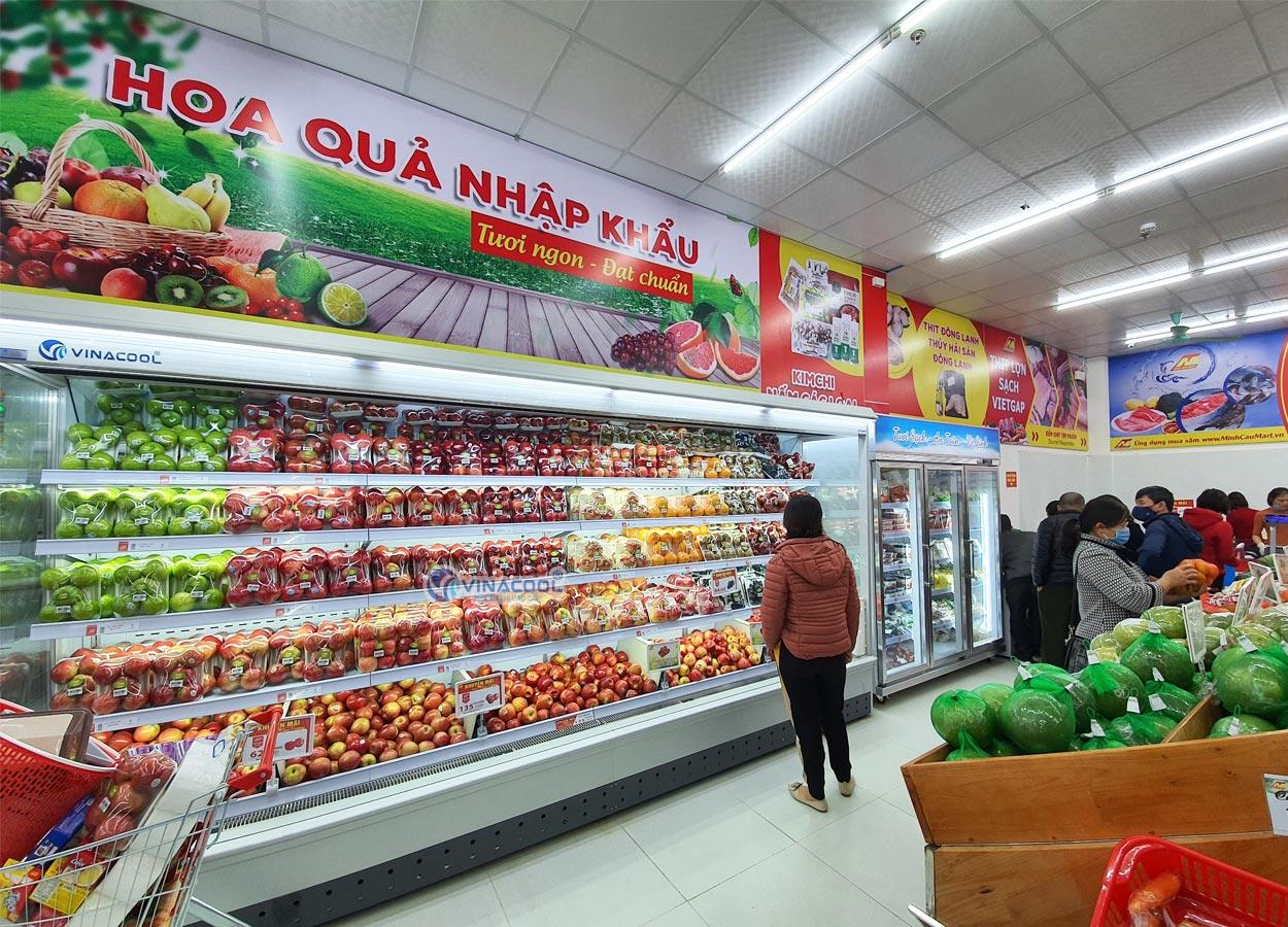 tủ mát bảo quản trái cây siêu thị